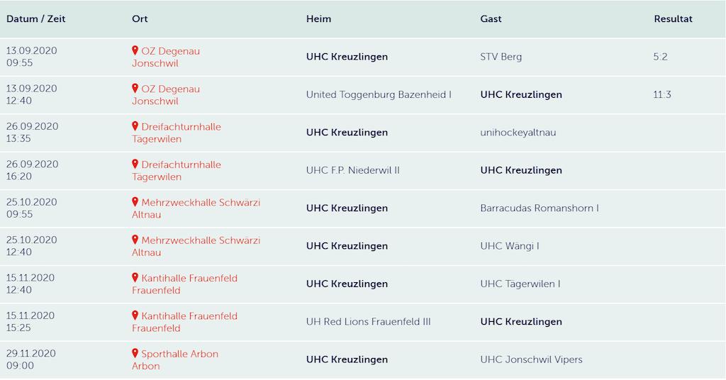 Spielplan Junioren D 1 in der Saison 2020/2021. Verein: UHC Kreuzlingen / Thurgau