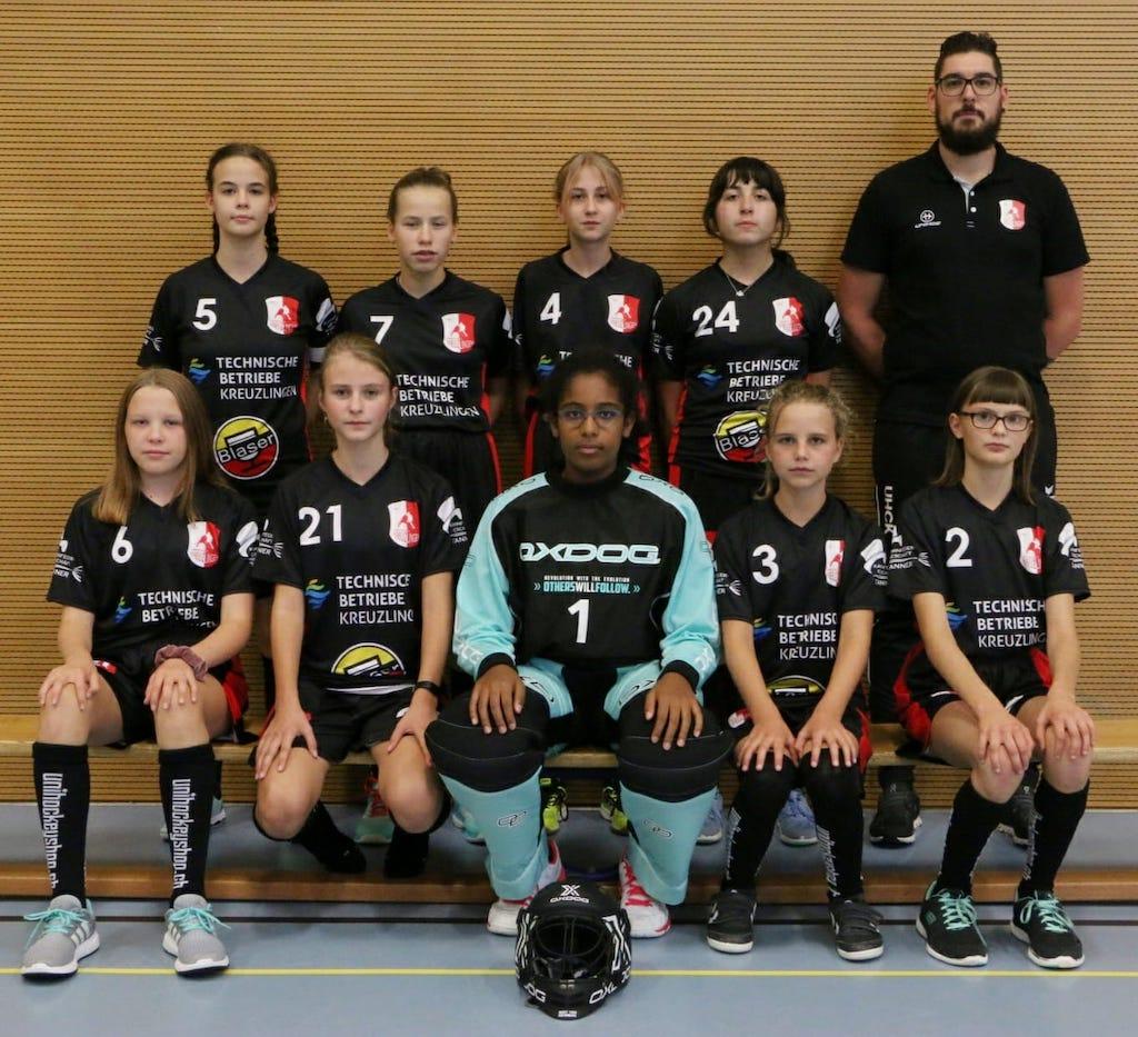 Mannschaftsfoto Juniorinnen B, Saison 2020/21. Trainer: Michael Naef